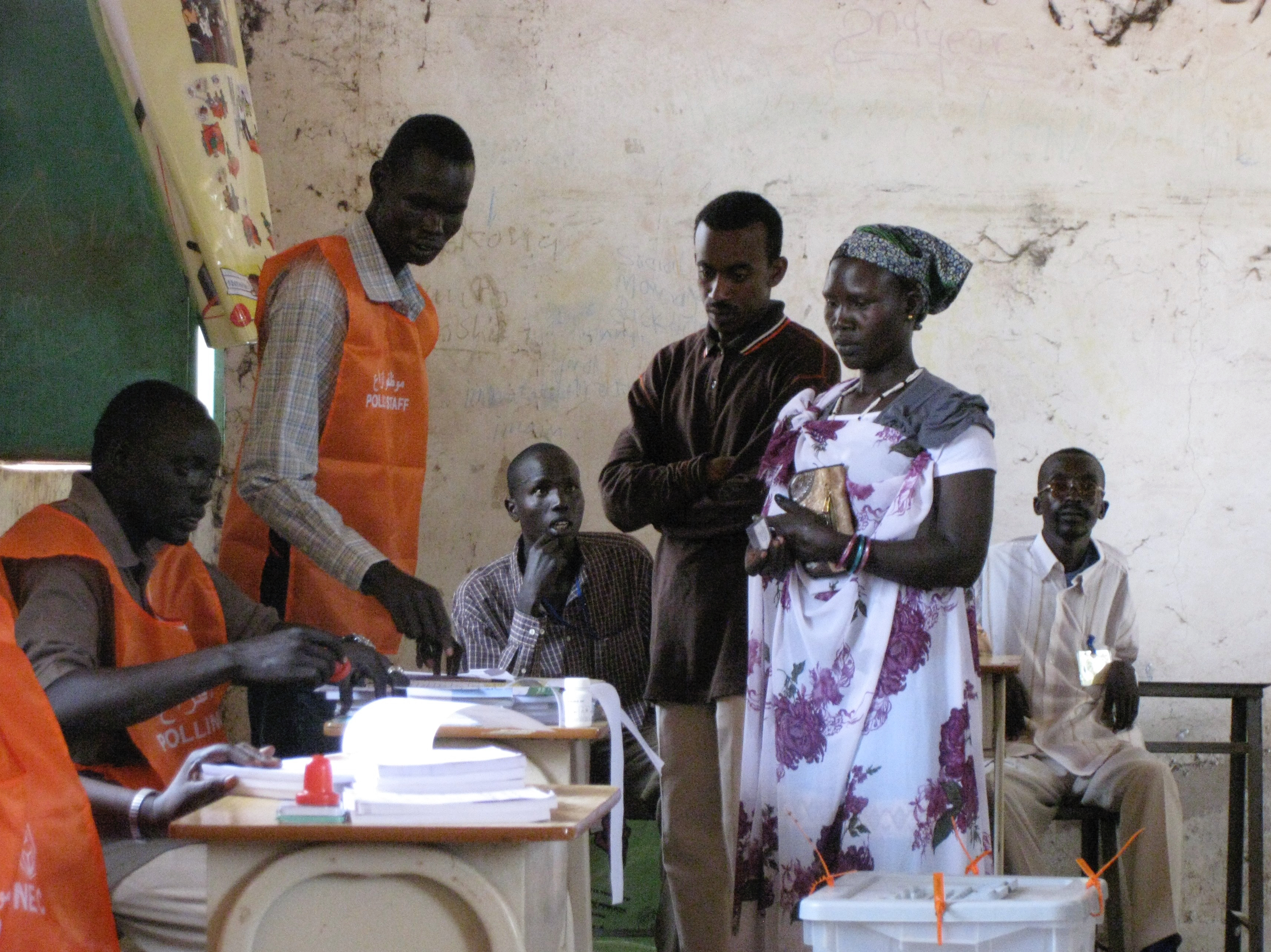 Woman voting in South Sudan