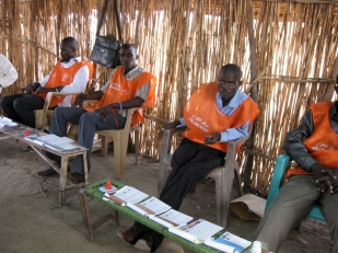 Polling centre workers in Sudan